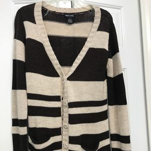 Brown and Cream Stripped Cardigan
